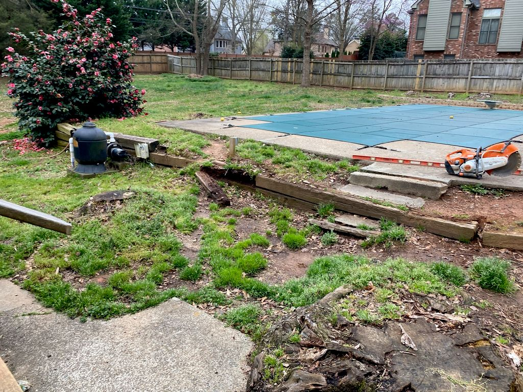 Replaced retaining wall and new paver patio
