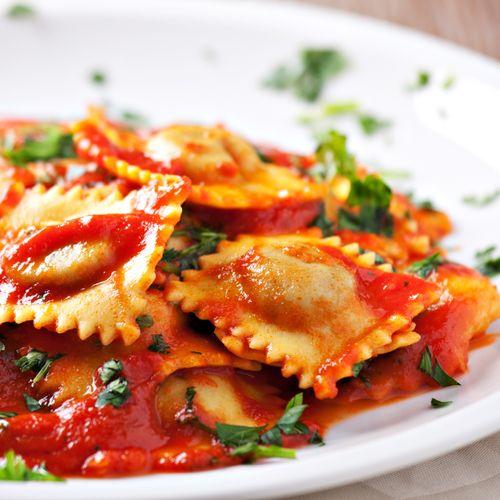 Ricotta & herb ravioli with San Marzano tomato marinara