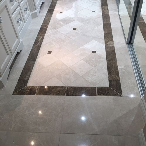 Marble Floor in bathroom after polished