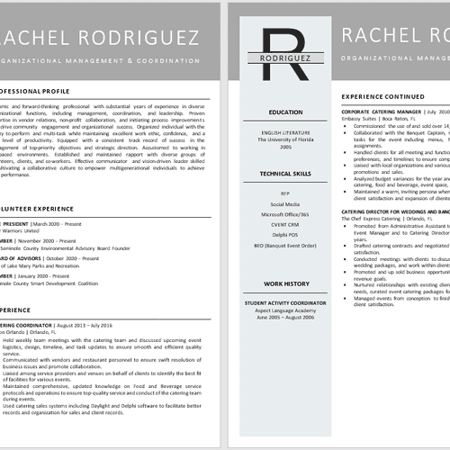 2-Page Event Management Resume