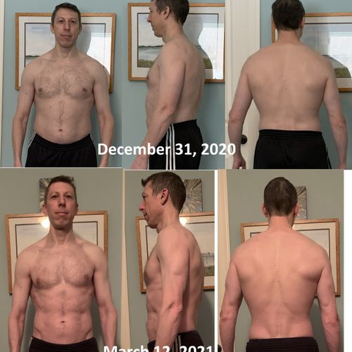 My most recent personal body change - after purposefully gaining weight for a lot of 2020, it was time to take 10 short weeks to remove some fat.