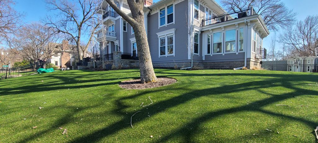 Leaf clean up on artificial turf grass