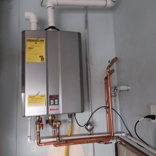 Tankless water heater installed