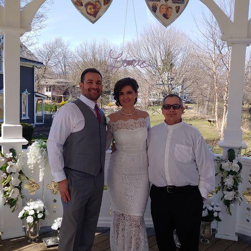 Rev. Sam and the Happy Couple in  Northville, MI