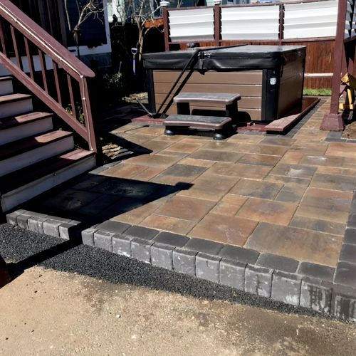 Dorchester Ma. Danville pavers with Charcol border. Contact us to make yours. In J&R Visual Landscaping. Every detail count!!! No job is to small