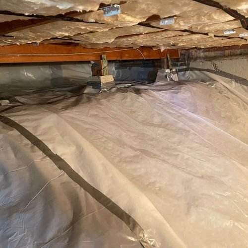 Final result  R19 batts insulation installation in the crawl space  Vapor barrier installation