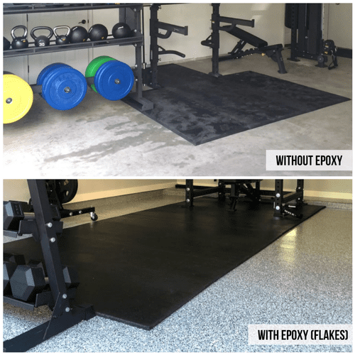 Our epoxy seals the concrete floor and is perfect for your home-gym.