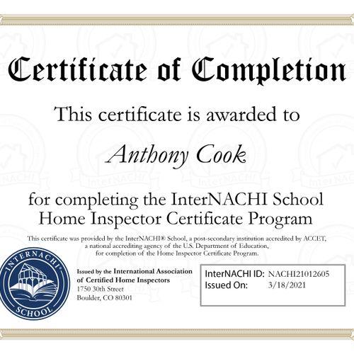 InterNACHI Graduation Certificate