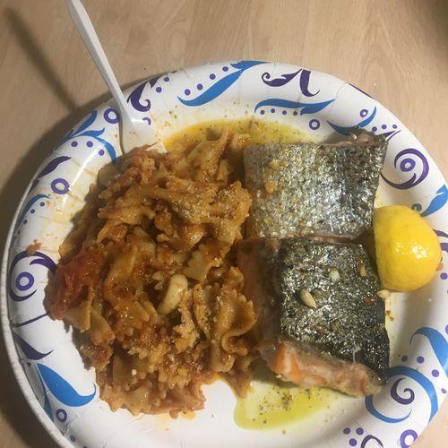 Basii pesto roasted Atlantic salmon with farfale with fresh tomato sauce