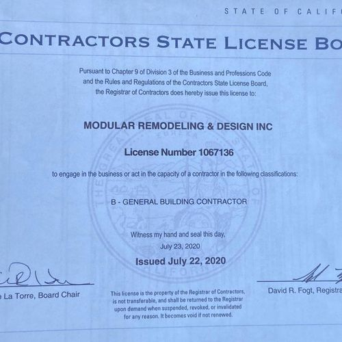 We are your licensed contractor