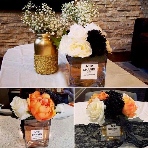 Handmade Chanel perfume bottles for bridal shower