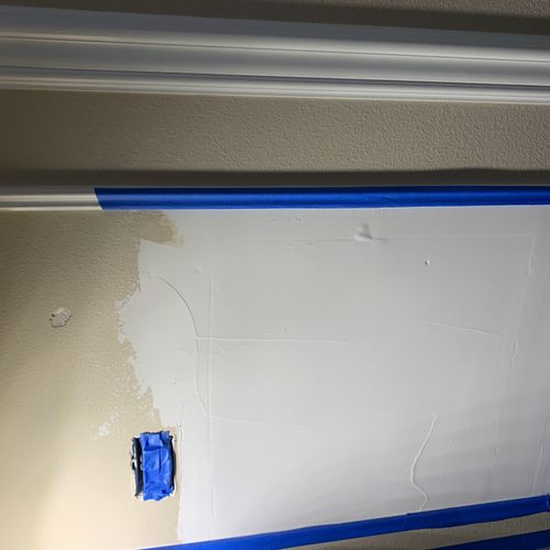 'Before' plumbing patch drywall.