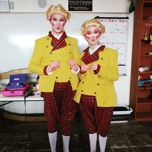 Costumes from a HS theater production. Jackets were purchased and altered to match the custom pants.
