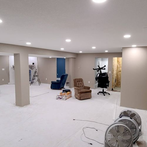 newly finished basement lighting