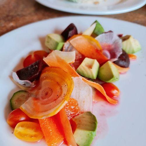 """Rainbow of colors"" salad with blood orange vinaigrette."