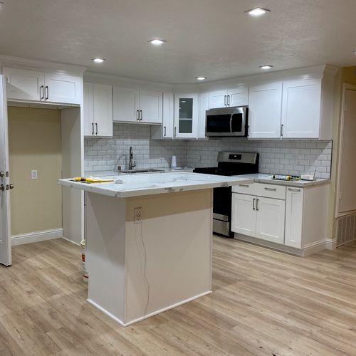 New cabinets New hardwood flooring  New recessed lights