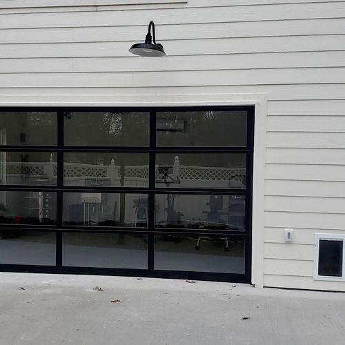 black complete glass insulated door
