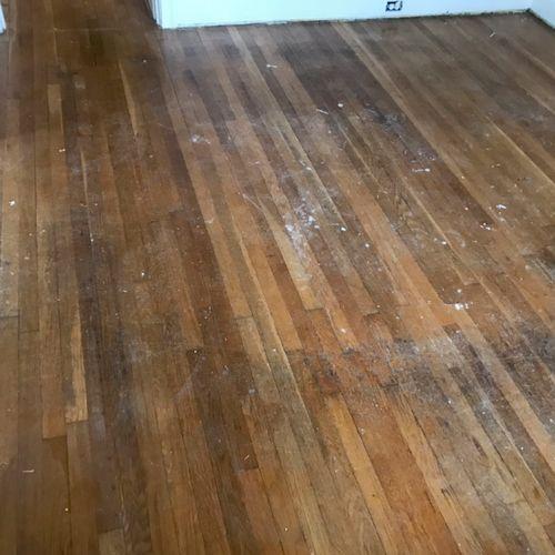 Dining Room Hardwood Floors-Before