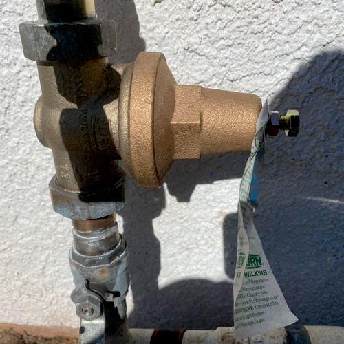 Replaced water pressure regulator