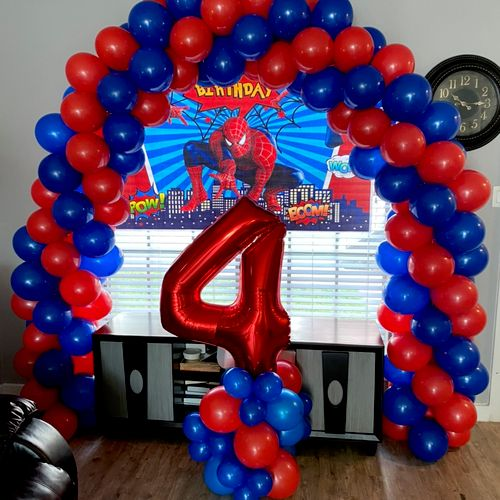 Spider Man Arch w/ Backdrop and Balloon Bundle