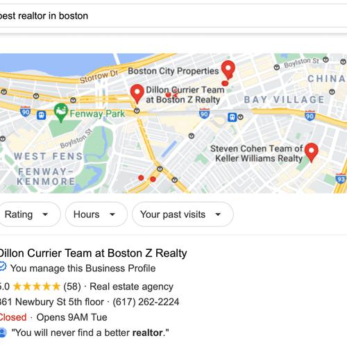 #1 on Google Maps for Best Realtor in Boston