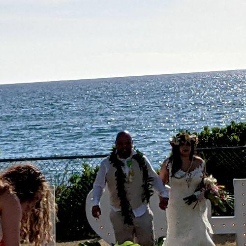 Wedding on the beach before sunset!