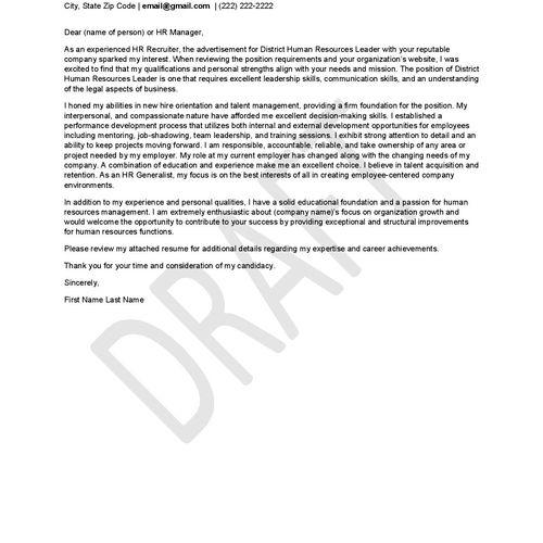 Cover Letter Sample 4