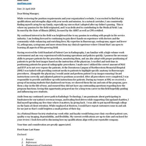 Cover Letter Sample 2