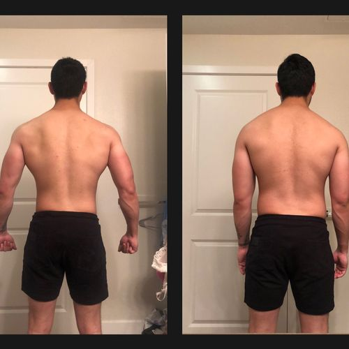 My 12 week transformation. Currently leaning down in preparation for bodybuilding competition. (Back)