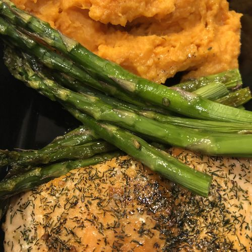 Roasted Chicken Breast with Whipped Sweet Potatoes & Roasted Asparagus