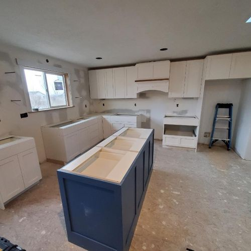 Kitchen cabinets in this home addition