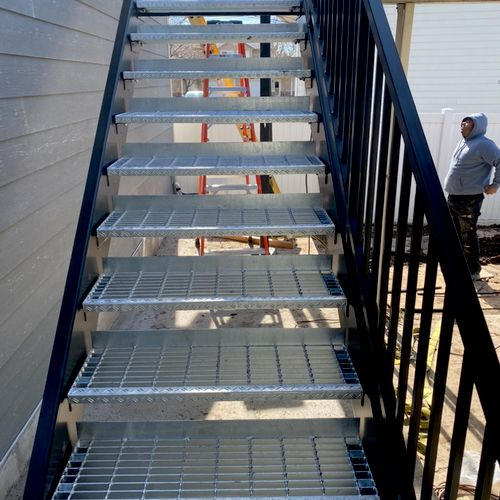 Metal stairs for an office space