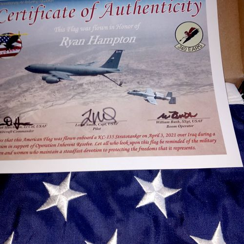 American Flag was flown over Iraq in my honor and then gifted to me! What a blessing!!!