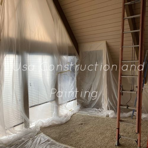 Interior painting! Covering!