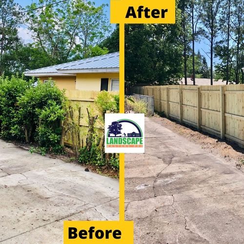 Shrub removal for new fence installation