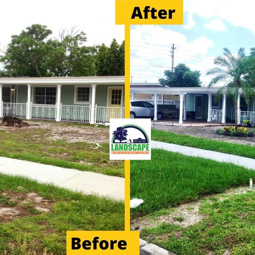 Complete installation of irrigation system, palm planting, shrubs and ornamental landscape