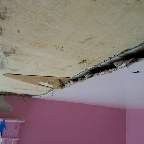 Close up of Water Damage and Areas of Mold