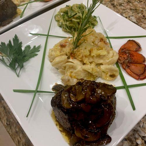 Seared filet, mushroom pan gravy, garlic zoodles and lobster Mac n' cheese