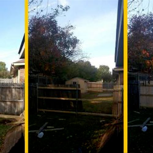 Before and after,  20 feet of pine fence.