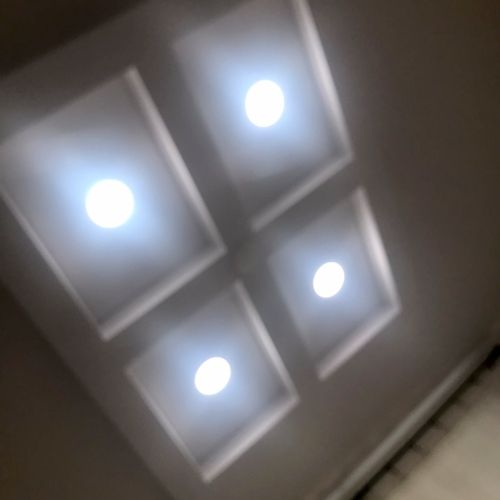 Old lights replaced with the latest canless flat halo LEDs.