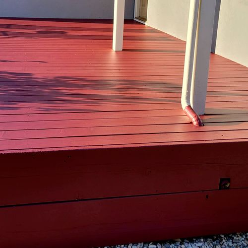 Masoud front of the house redwood deck refinished.