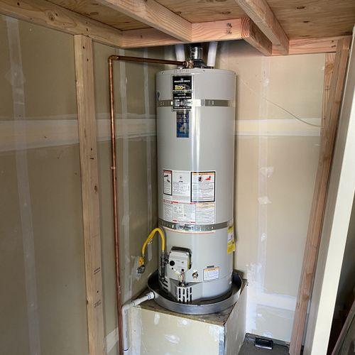 New water heater installed to code!