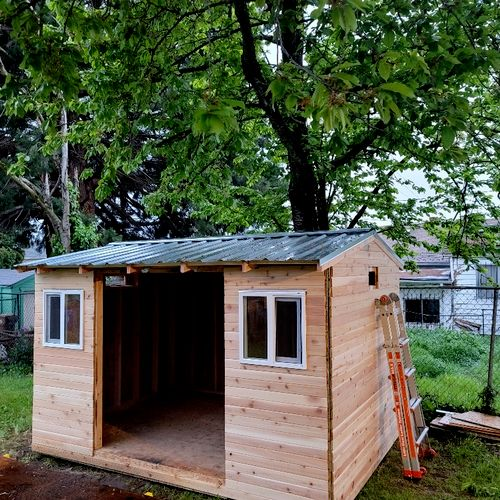 custom shed build- shiplap siding