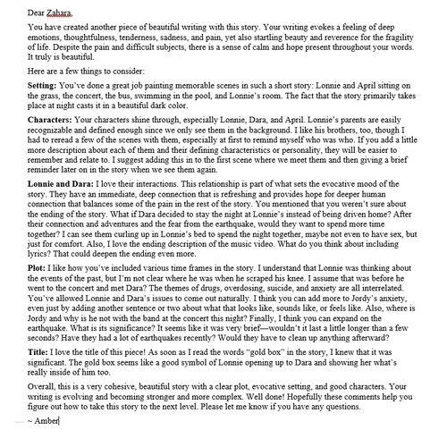 """Developmental Edit of Short Story """"Gold Box"""" by Zahara Porter"""