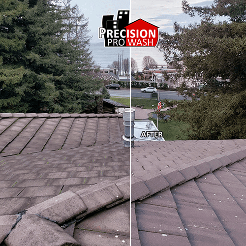 Roof restoration, curing the discoloration that roof without maintanence develops over time.