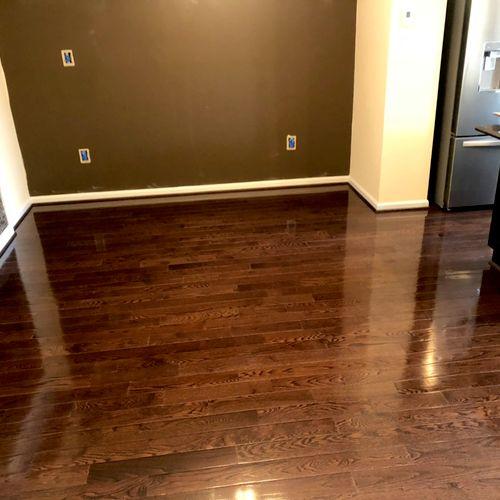 Hardwood floor clean and polish