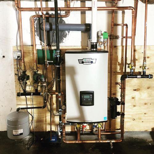 AO Smith Combi natural gas boiler after photo (oil to gas conversion)