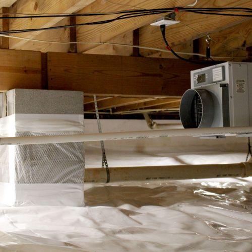 Moisture control work: Full crawl space encapsulation, moisture barrier installation, installation of new insulation, and dehumidifier installation