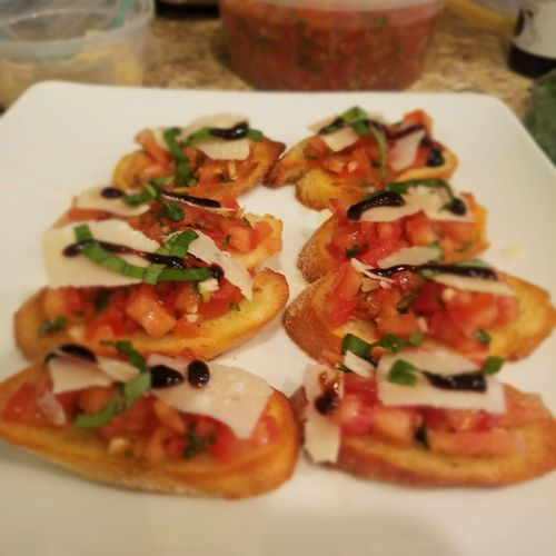 Classic Bruschetta with Shaved Parmesan and Balsamic Glaze