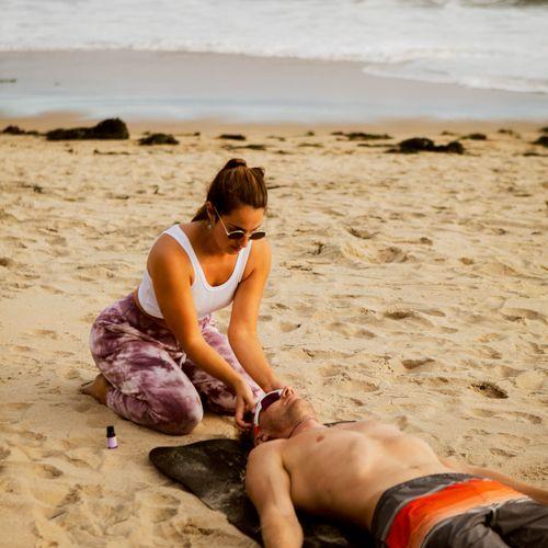 Lavender essential oils and reiki healing in savasana